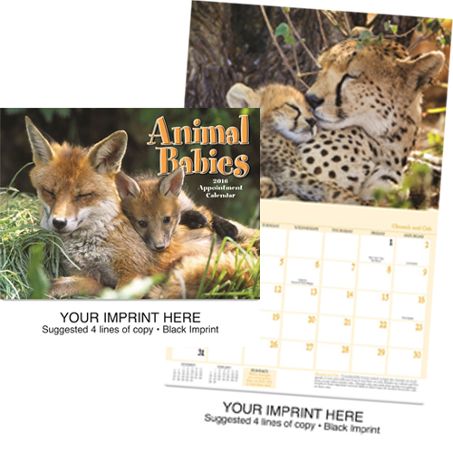 Custom Imprinted Calendar - Animal Babies #890